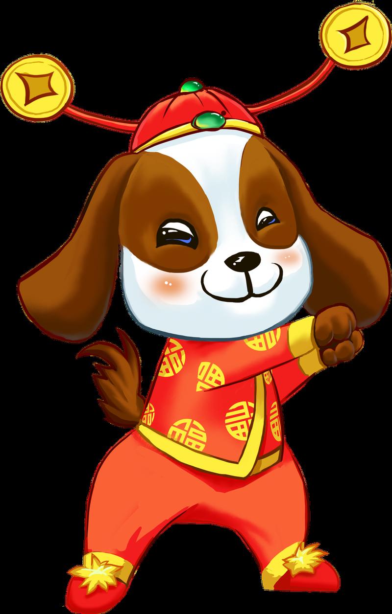 新年手绘卡通装饰狗狗拜年海报设