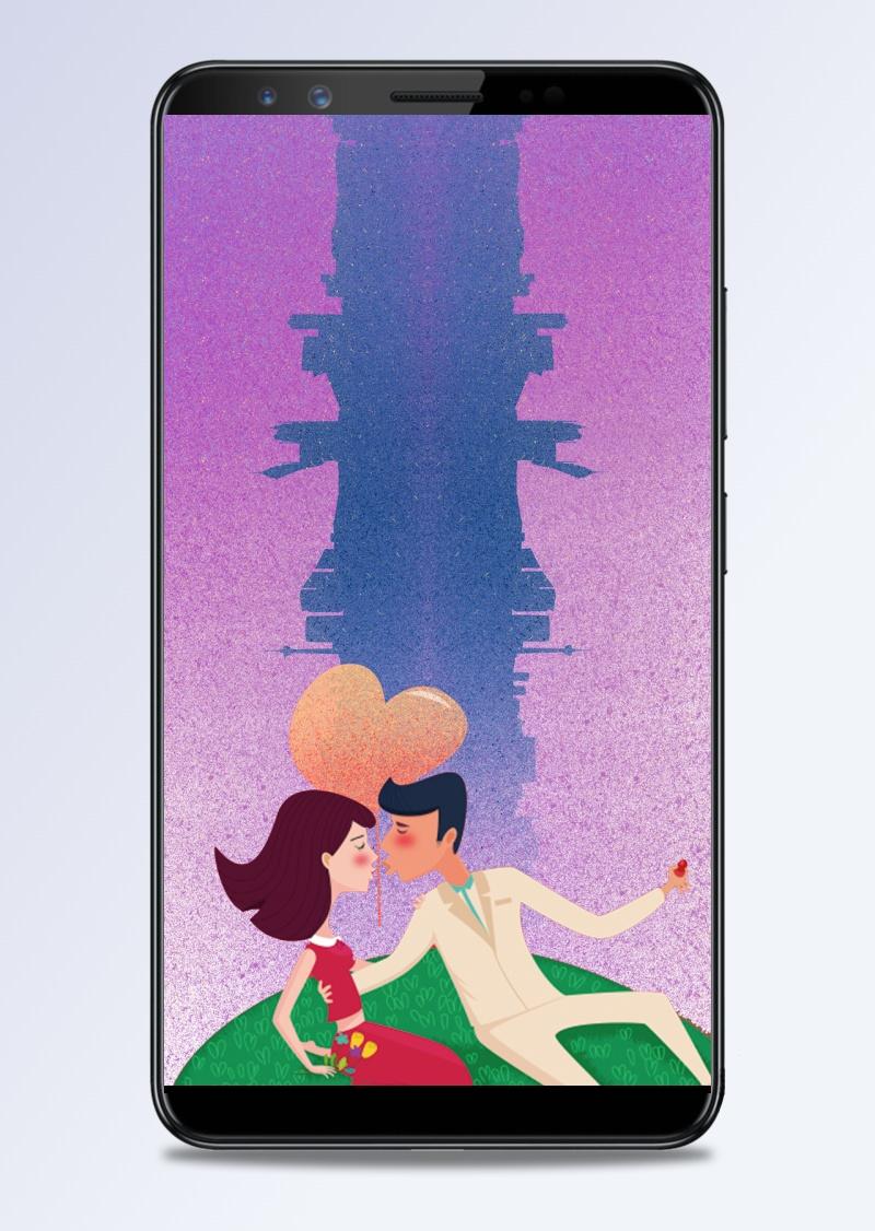 520爱情手绘质感紫色背景素材
