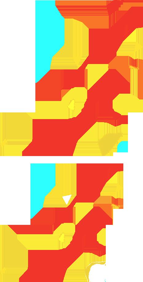 红色漂浮线条形状