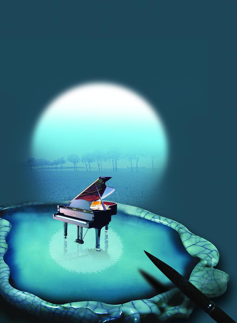 背景 钢琴背景 印刷背景 钢琴印刷背景 舞台 蓝色 光影 圆形 钢琴