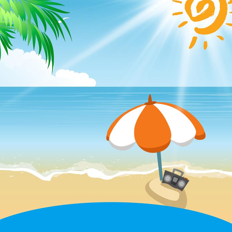 手绘卡通夏日海边防晒霜PSD分层主图背景