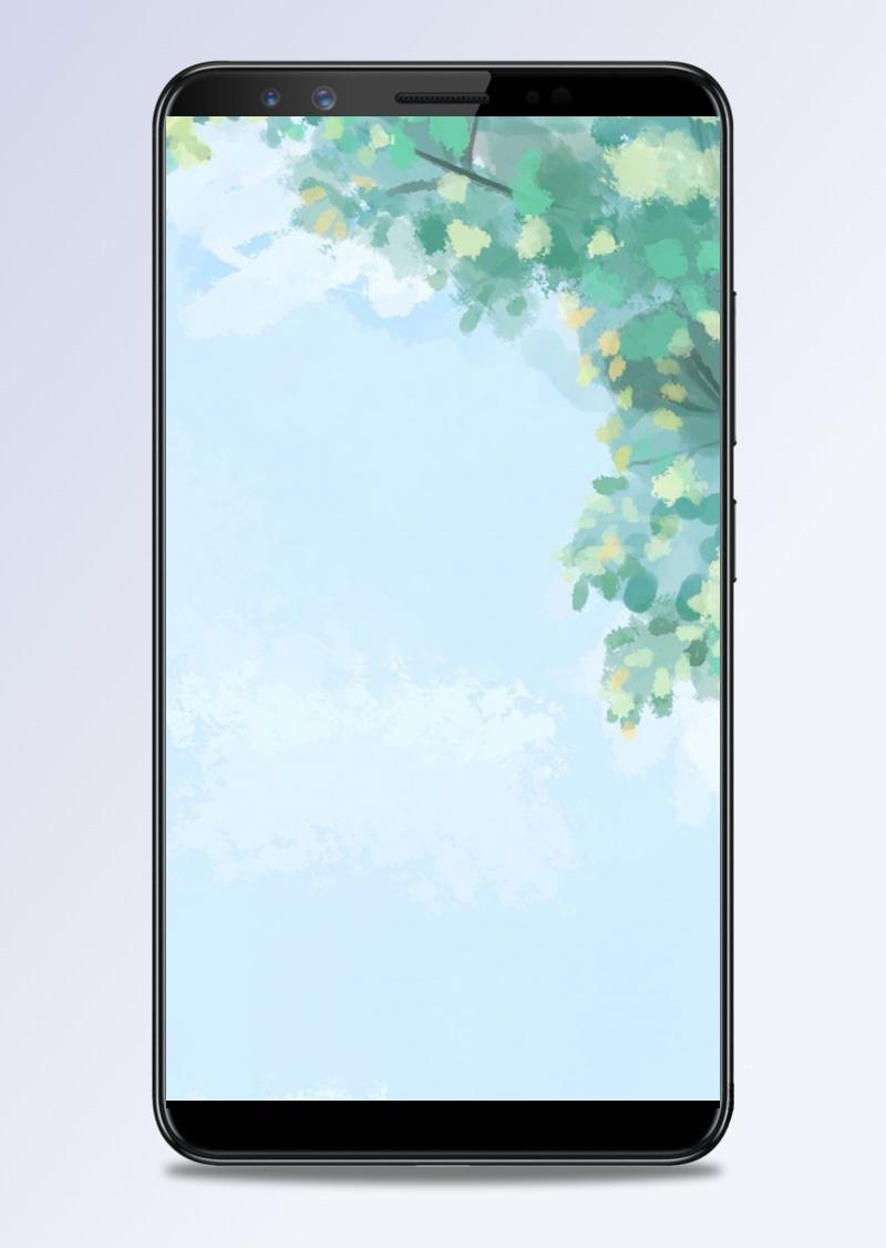 蓝色小清新树叶App手机端H5背景