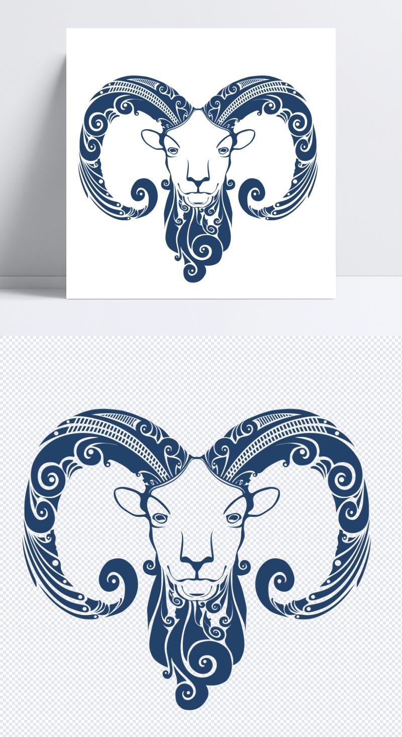 矢量复古羊头装饰png图片下载含eps