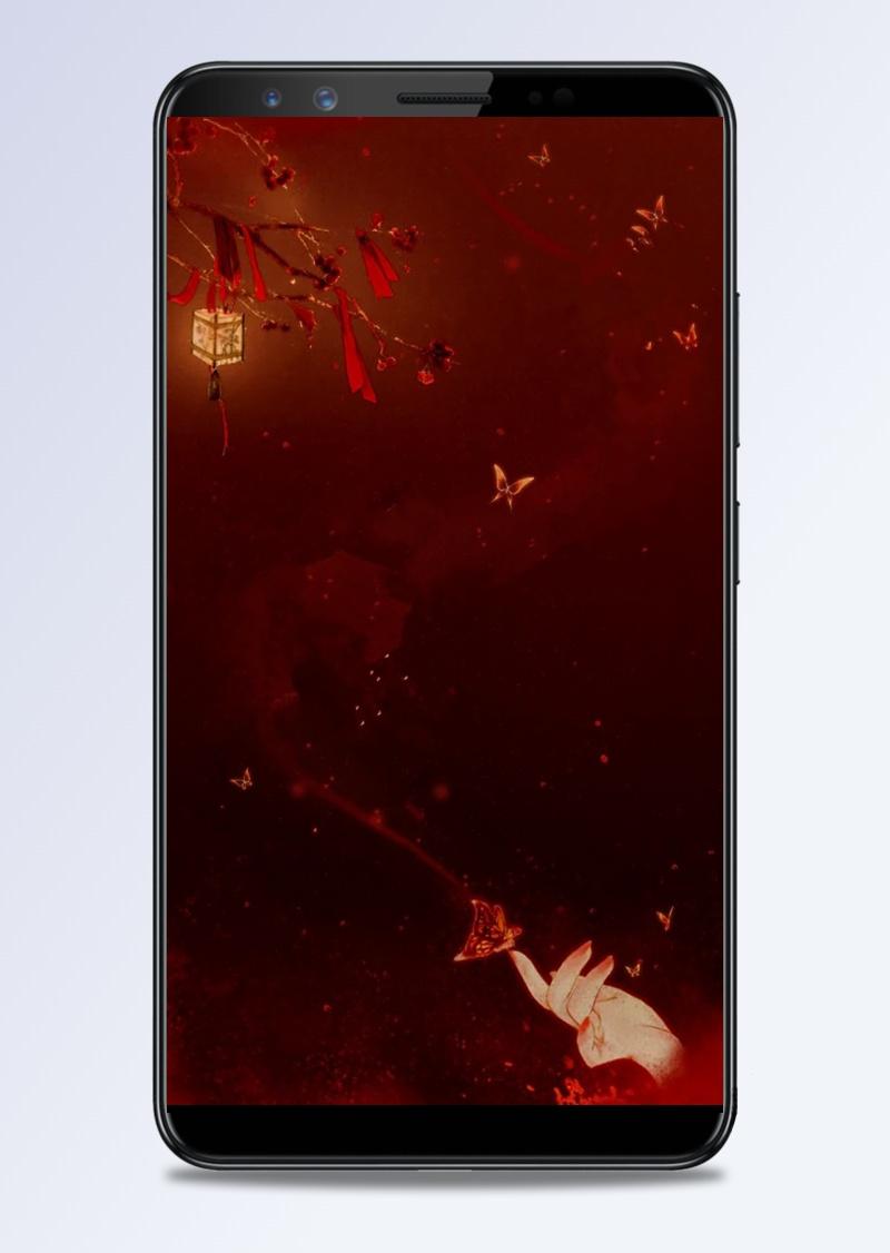 中国风背景红色背景灯笼背景H5背景