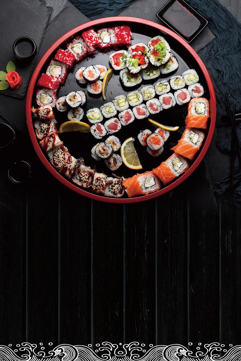 黑色创意寿司日式美食海报背景设计模板素材