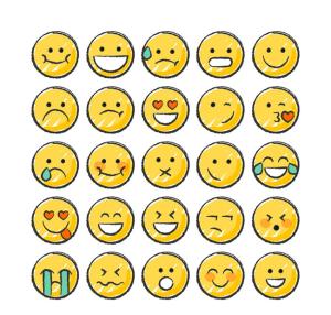 25款手绘圆脸表情矢量图图片