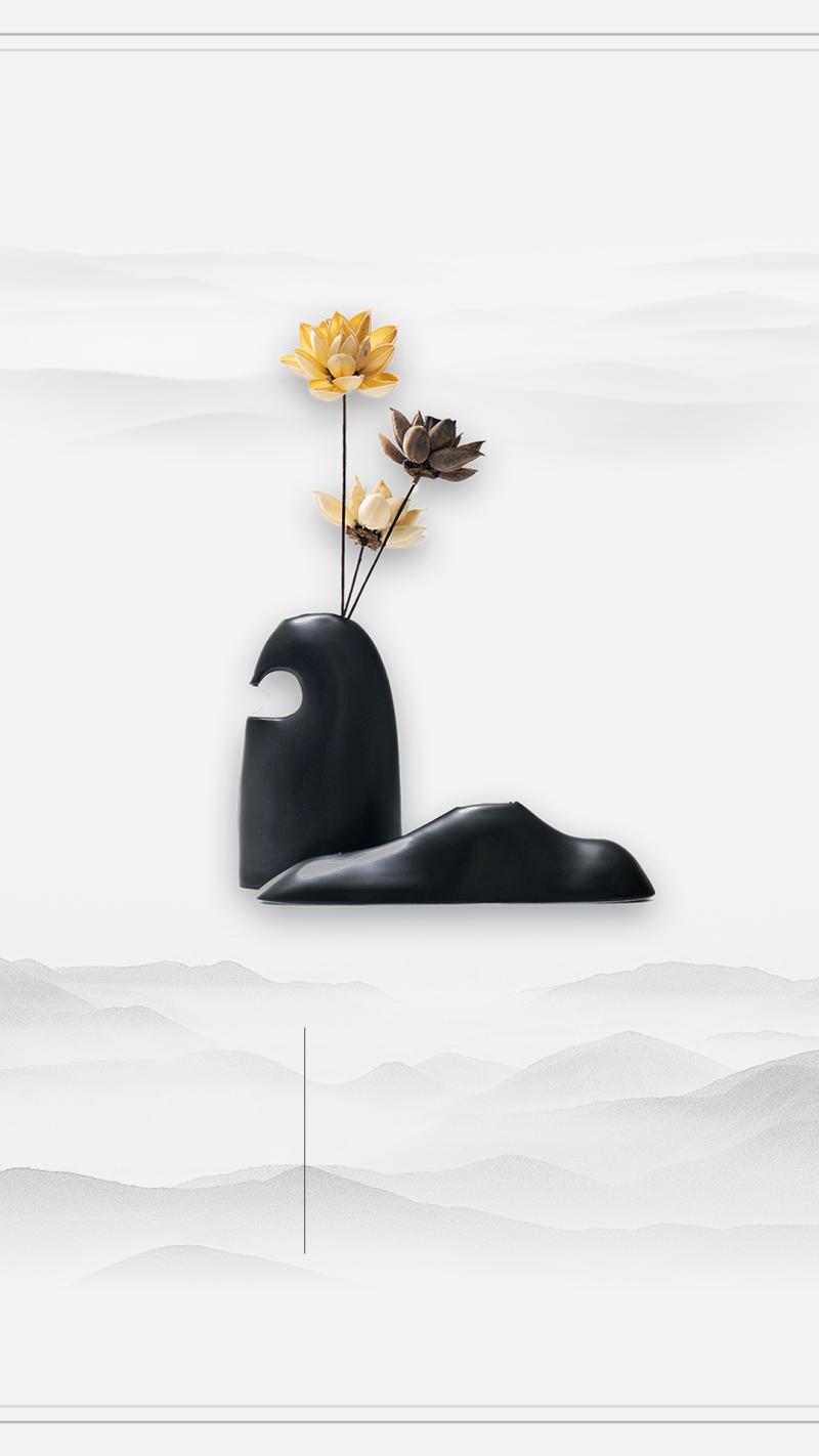 清新雅致花朵H5背景psd分层素材