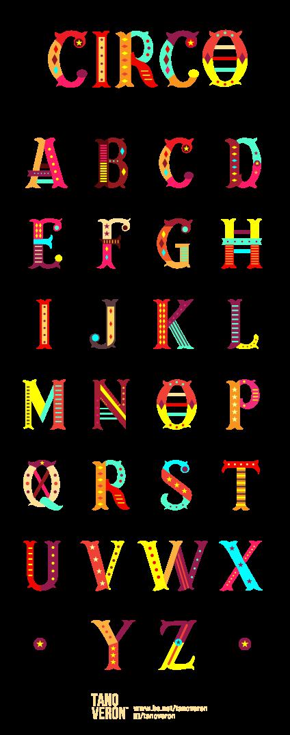 马戏团字母设计