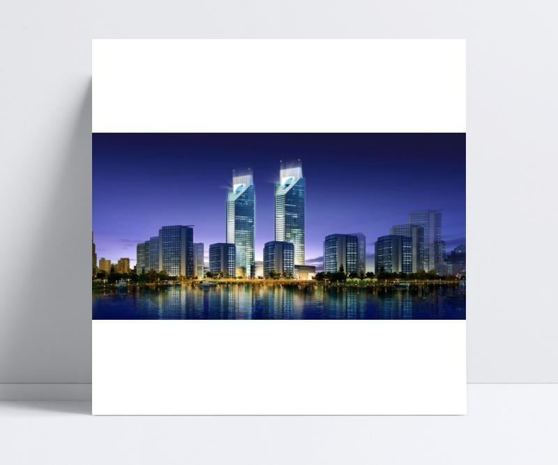 建筑夜景效果图PSD模板