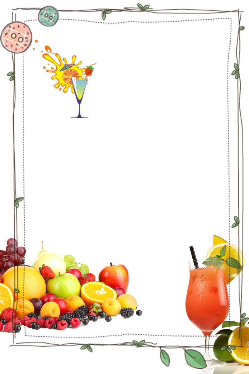 水果拼盘冷饮边框背景素材