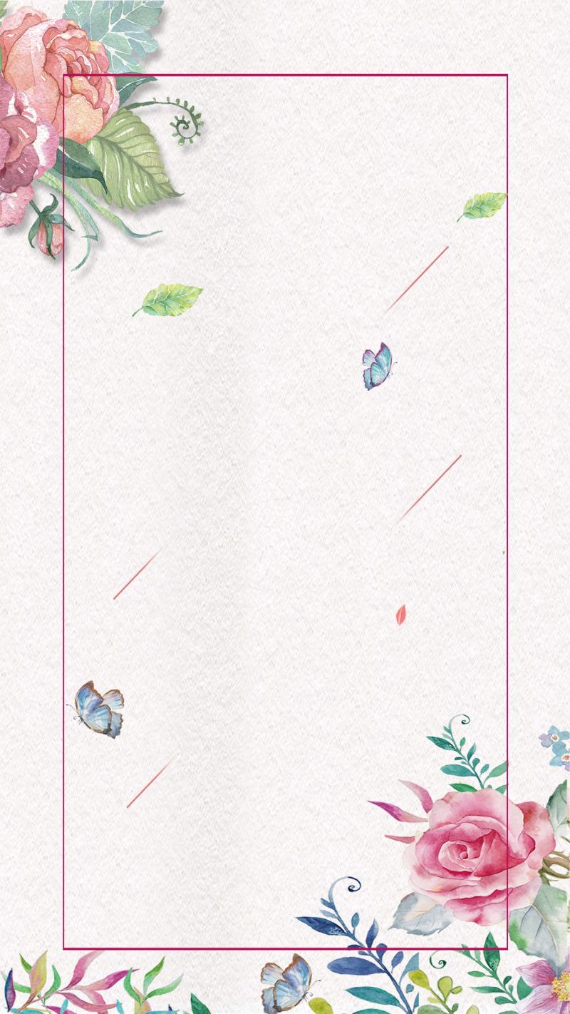 手绘清新婚礼海报H5背景psd分层下载