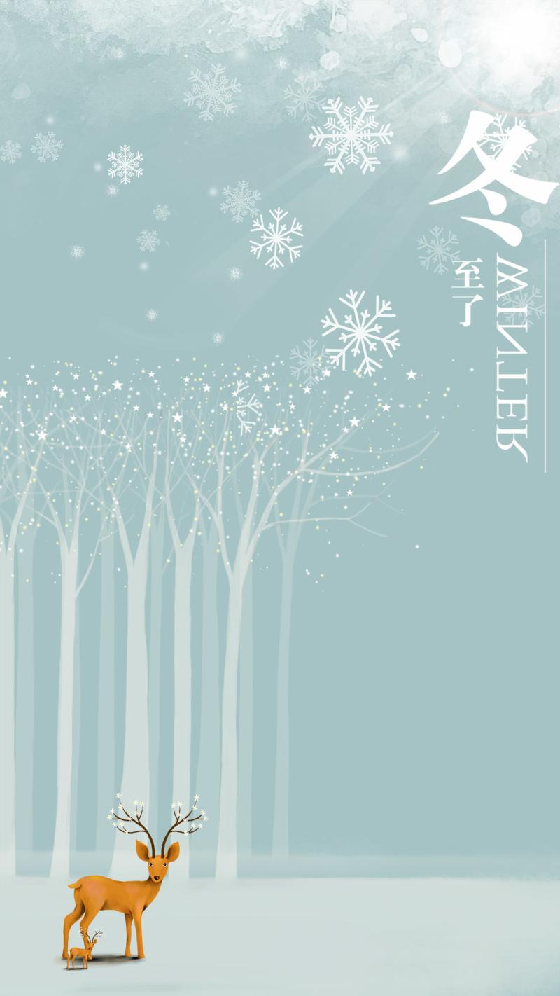 冬至小清新雪花白雪H5背景素材