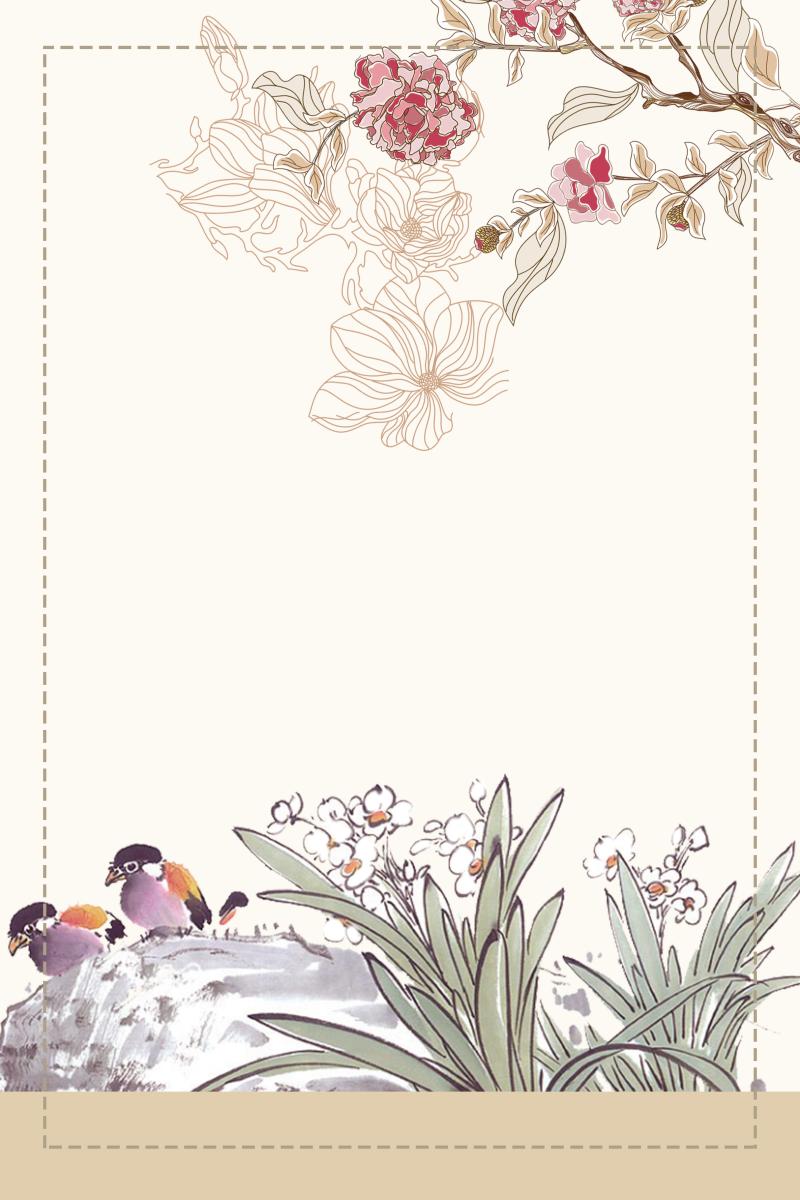 花鳥畫和虛線邊框背景圖片