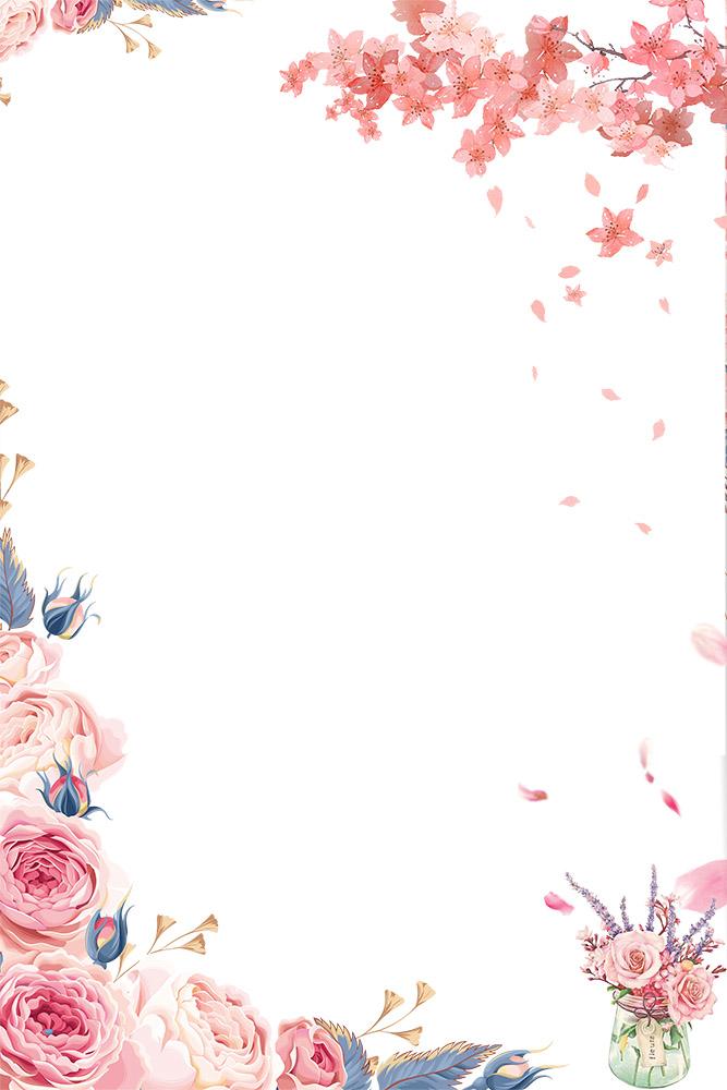 母亲节温馨手绘花朵装饰边框