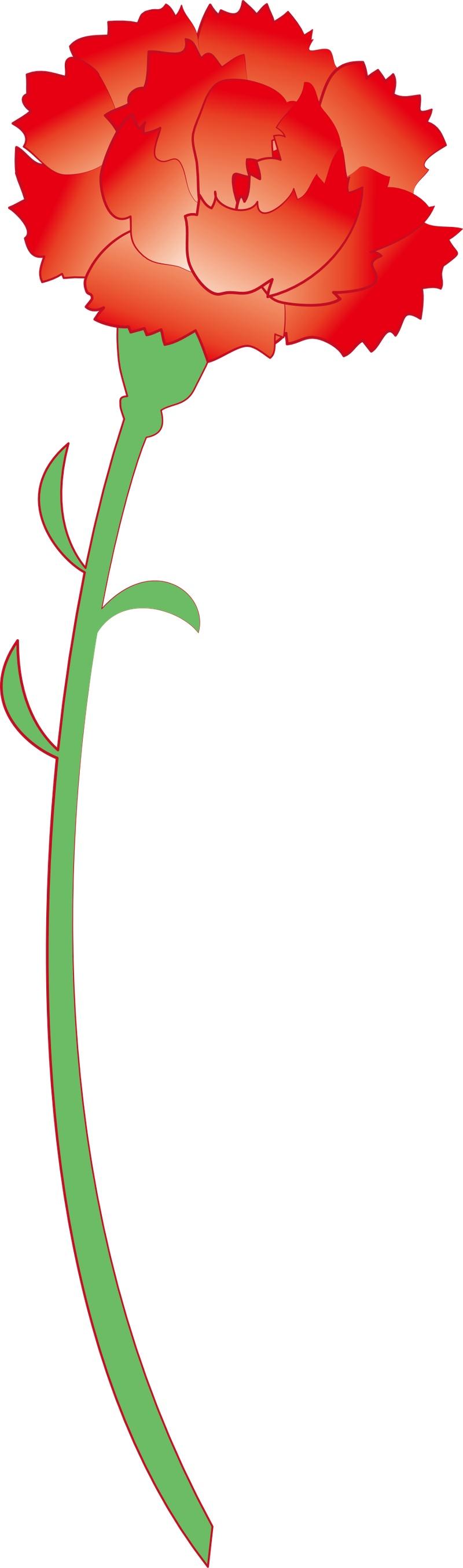 红色卡通母亲节康乃馨