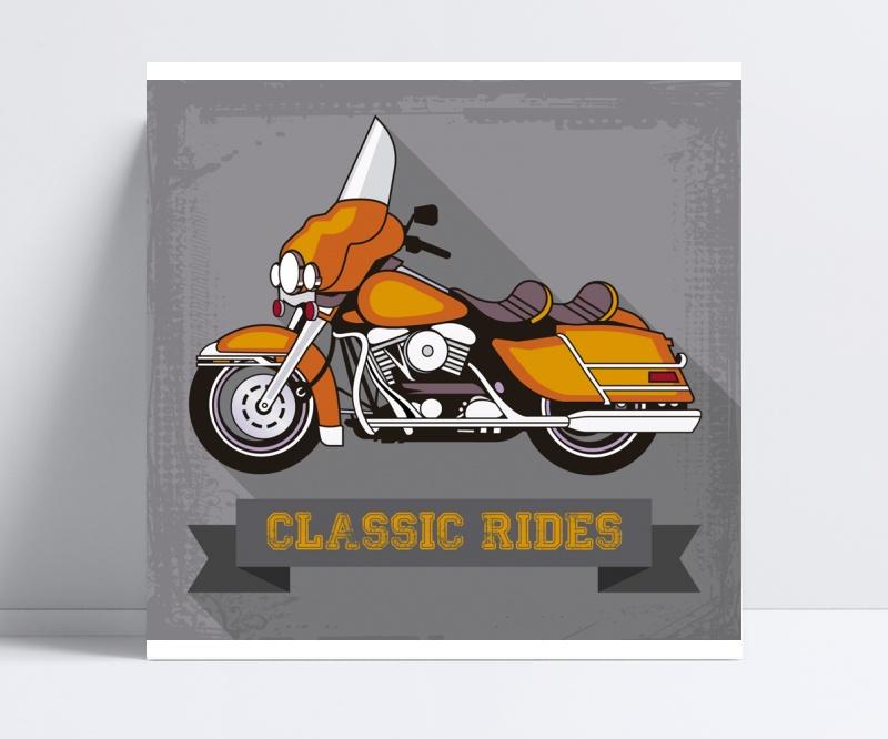橙色复古摩托车矢量素材
