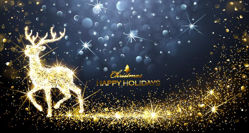 金色闪耀奔跑的圣诞鹿矢量素材