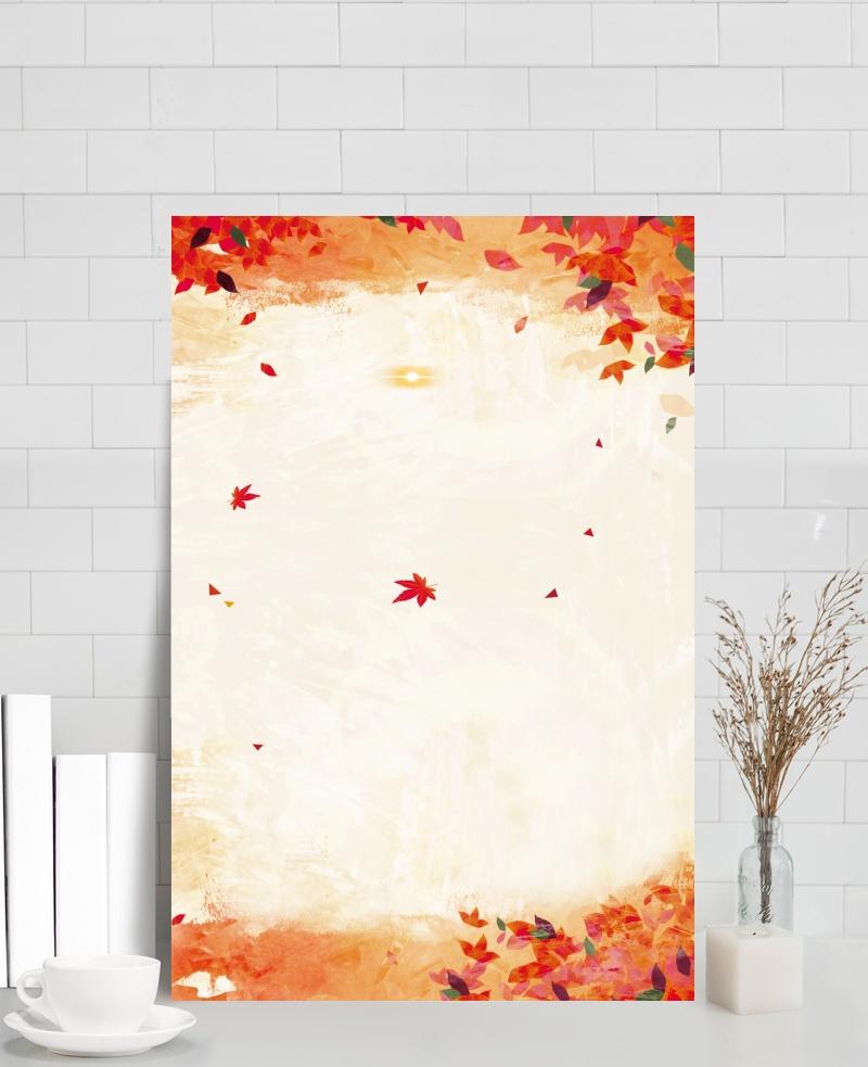 秋風落葉質感漂浮背景素材