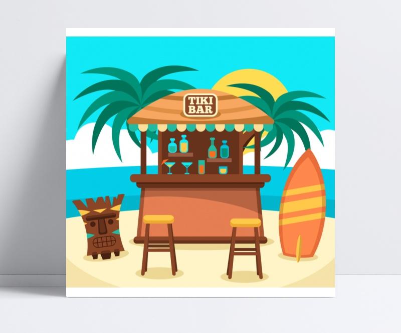 海滨度假区售货亭矢量素材