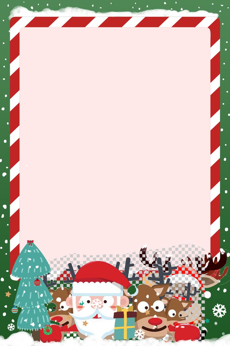 圣诞节彩色边框卡通手绘海报背景