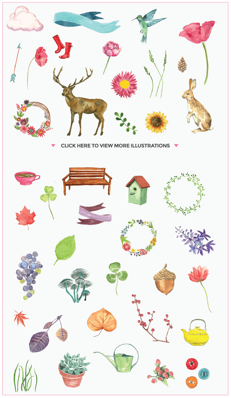 各种手绘动物 花环 绿草 png素材