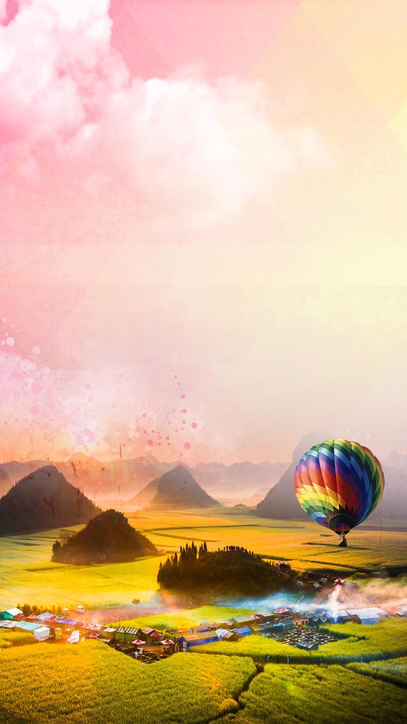 梦幻天空风景绿色草地风景气球背景素材