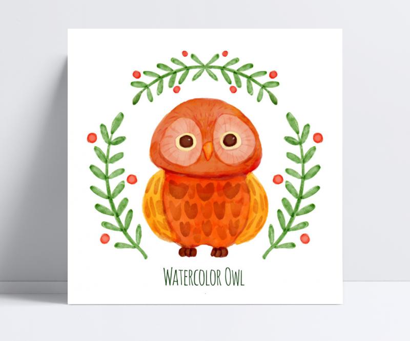水彩橙色猫头鹰