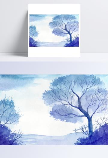 蓝色渐变水彩画风景画矢量素材