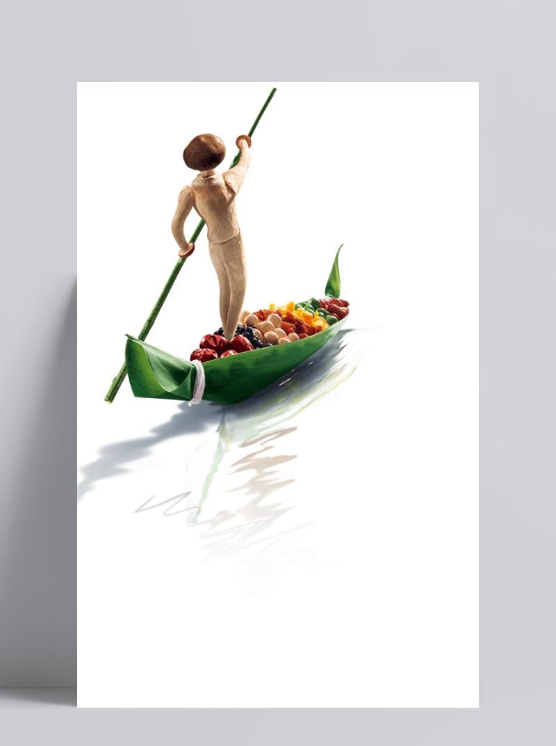创意粽子撑船