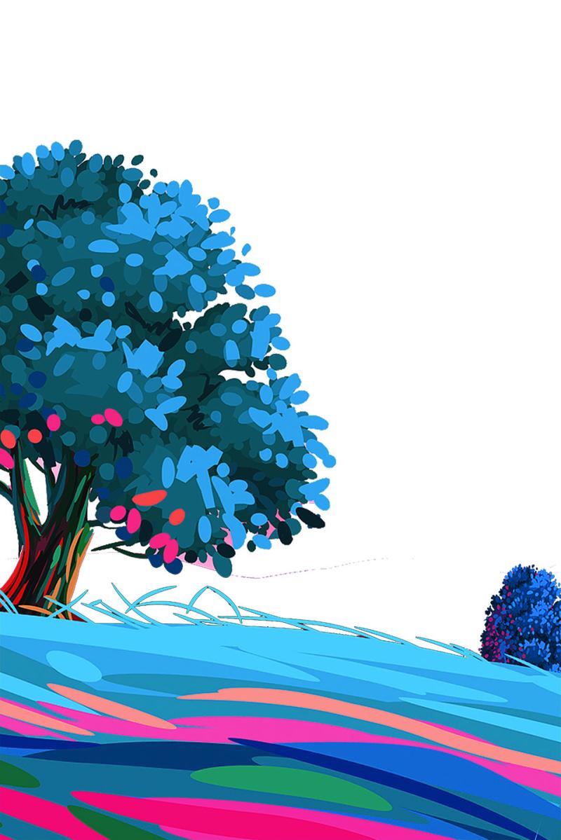 六一儿童节手绘蓝色背景边框
