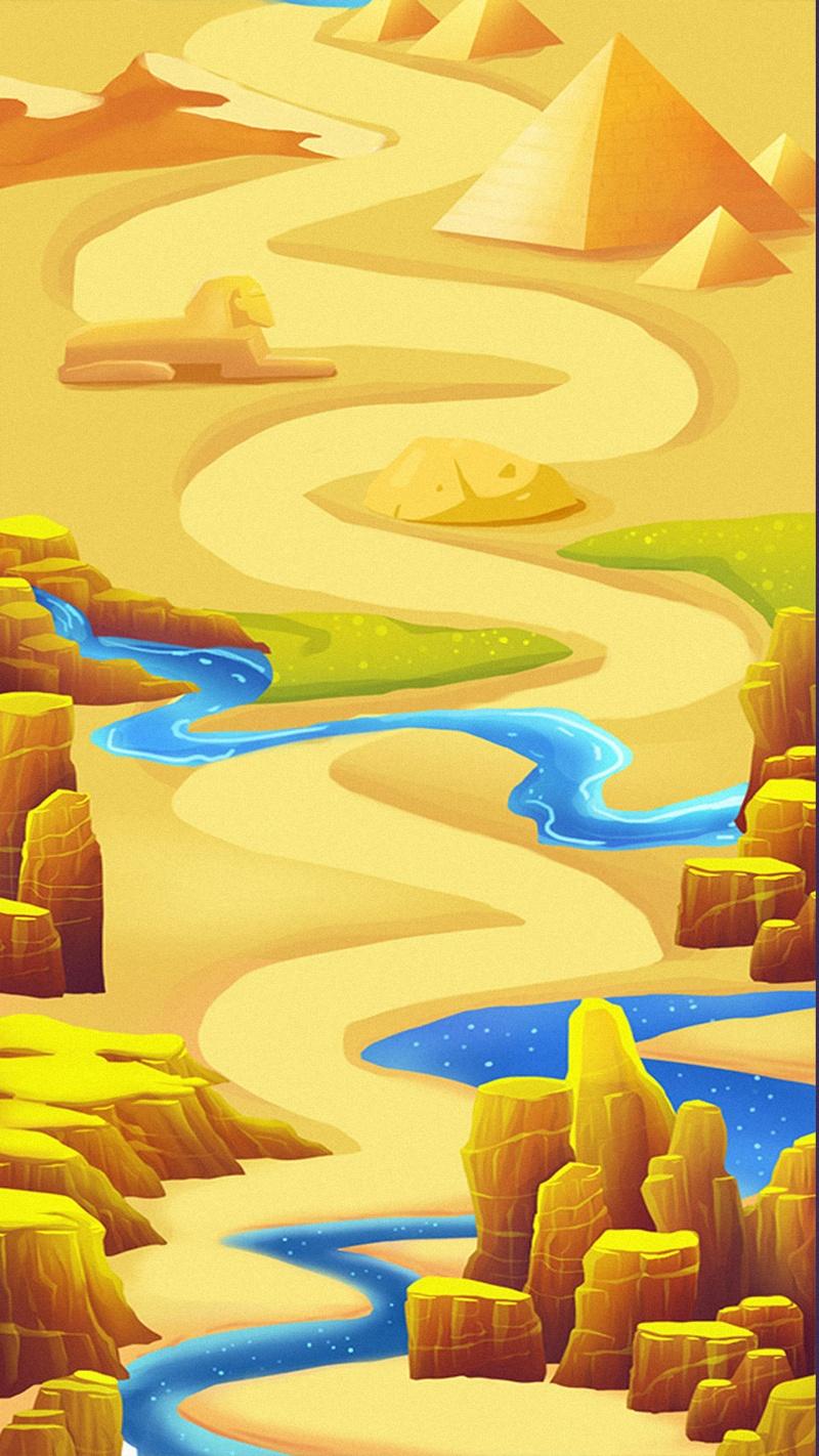 卡通山水风景H5背景