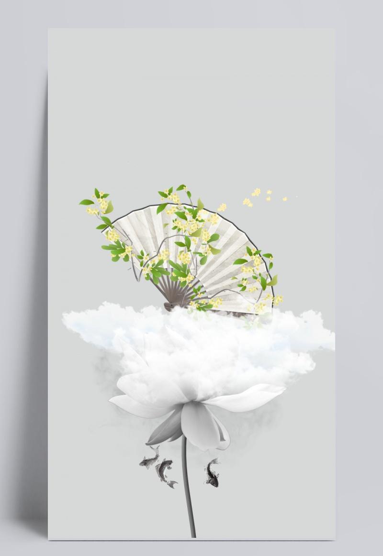 圆月兔子荷花促销中国风灰色