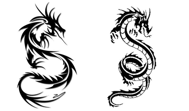 龙图案模板家具免抠png透明图层黑白组合纹身素材设计素材毕业设计图片