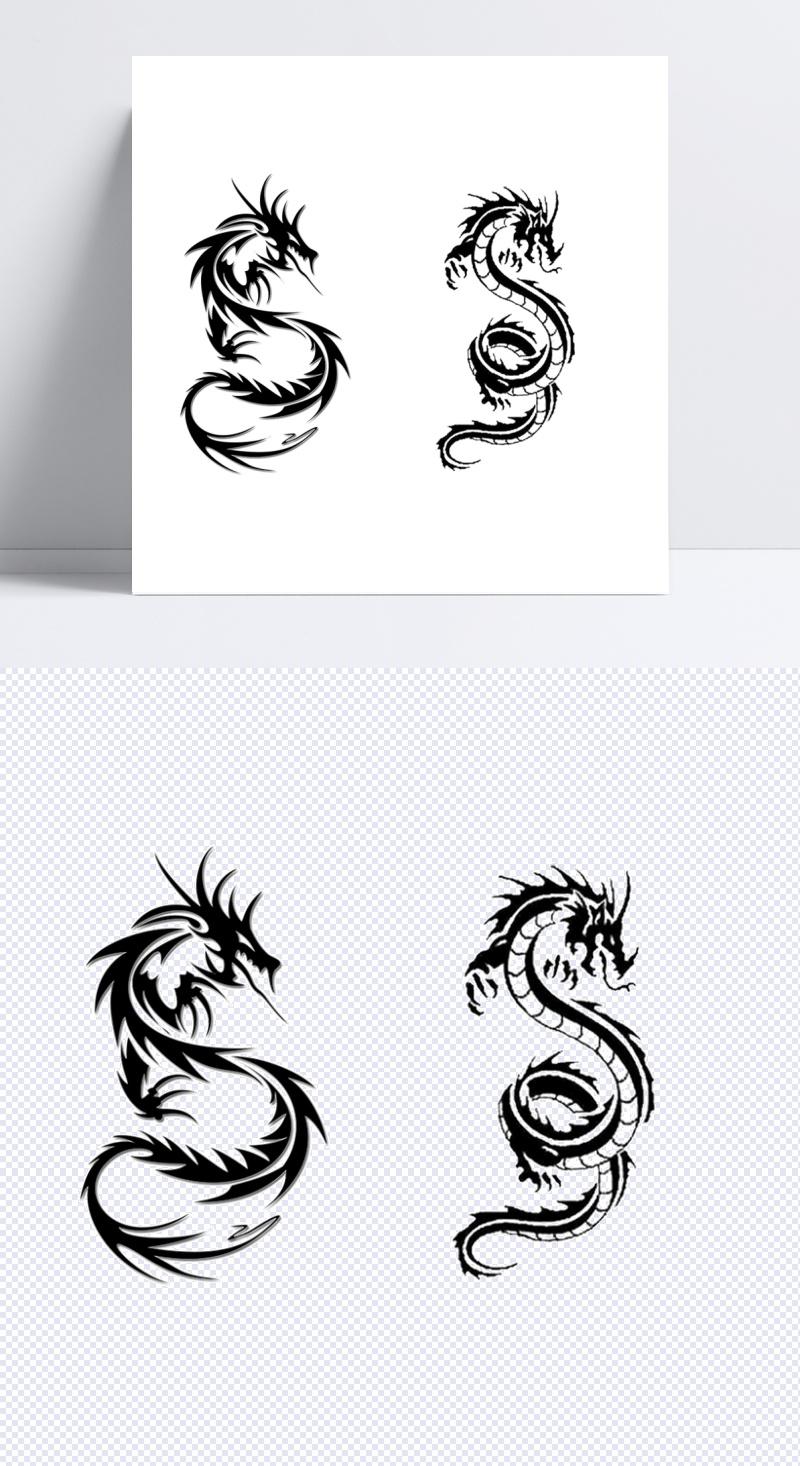 龙图片素材纹身免抠png透明图层图案v图片模板素材黑白糖果包装设计可爱图片