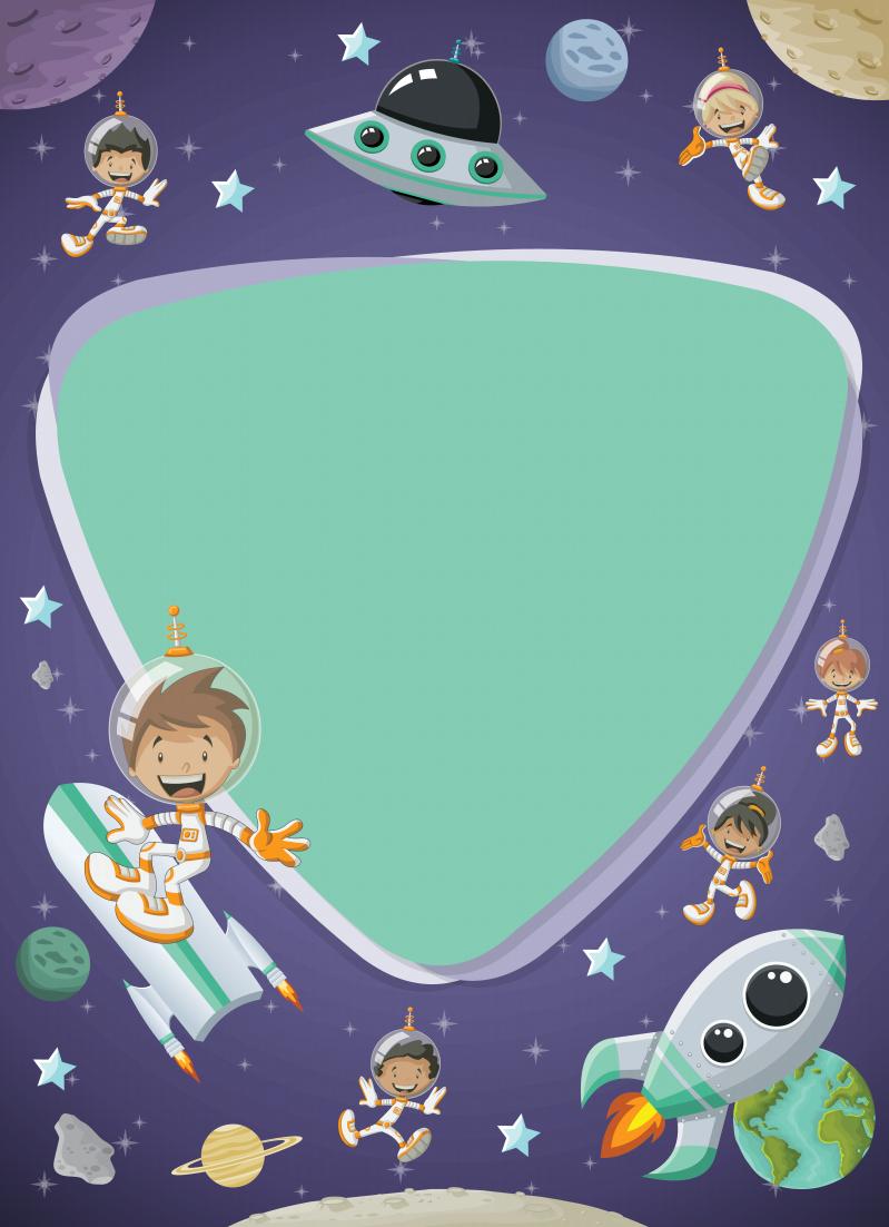 创意卡通儿童宇航员宇宙科技背景边框矢量素材