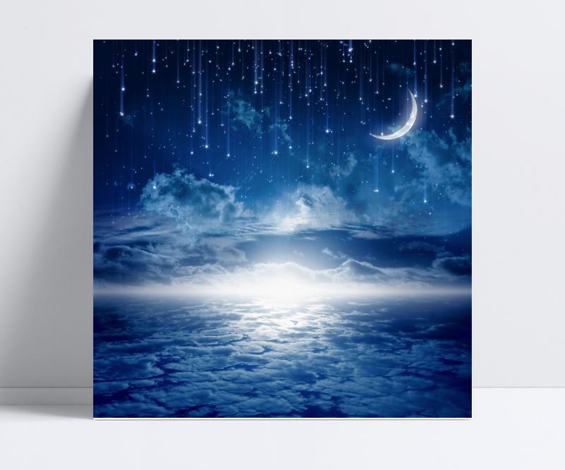 蓝色夜空唯美星空背景