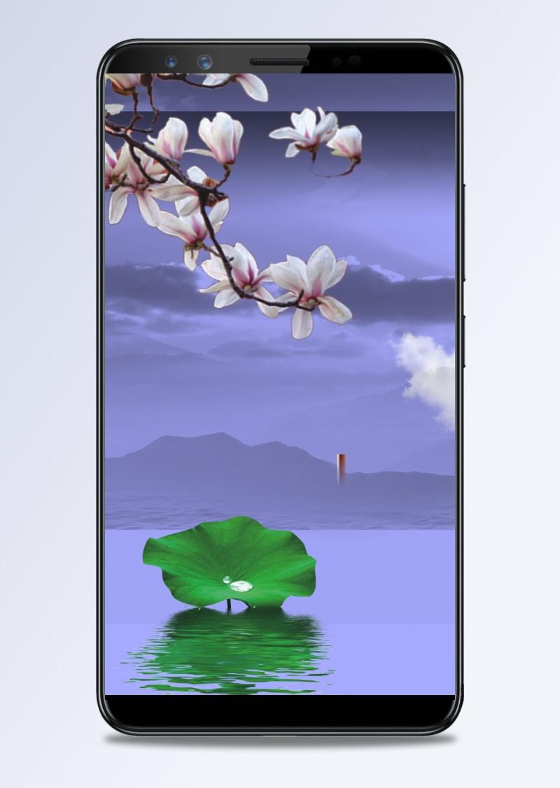 中国风蓝天荷叶H5背景素材
