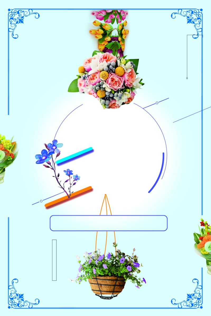 蓝色唯美鲜花订制花店背景