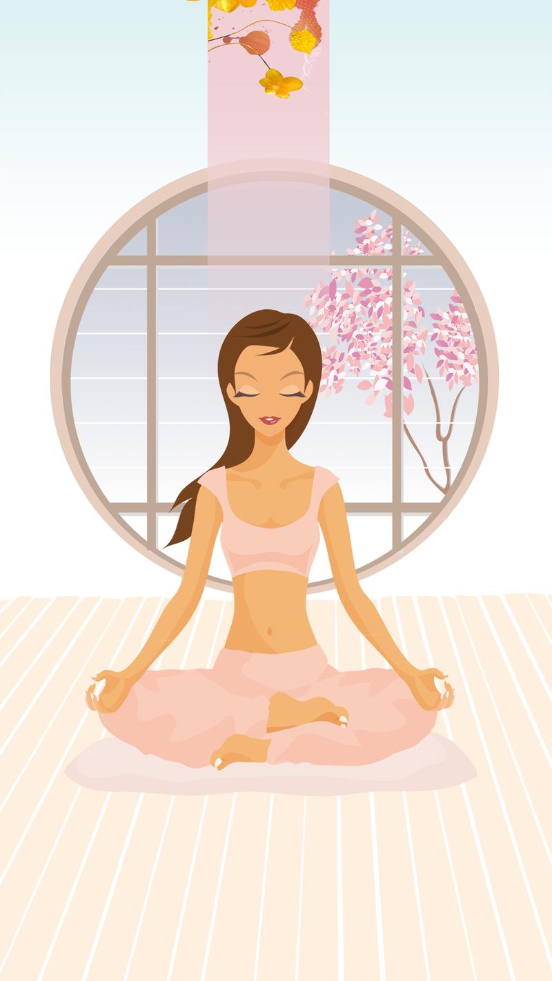 瑜伽运动小清新简约女孩插画H5背景
