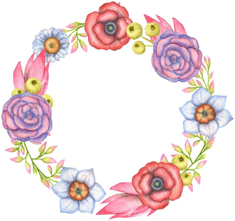 手绘 水彩粉彩 植物花卉 花环
