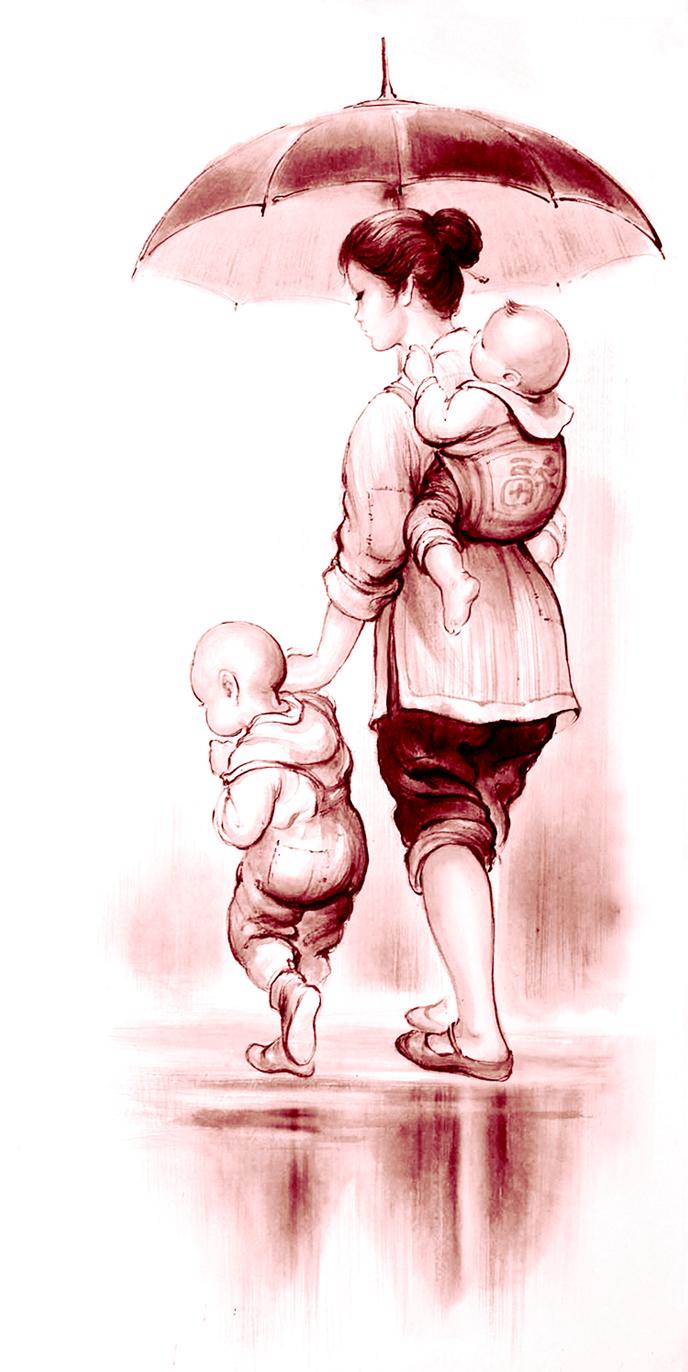 母亲节人物雨天手绘