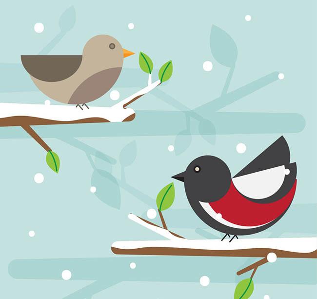 雪地里的几何卡通小鸟矢量图图片