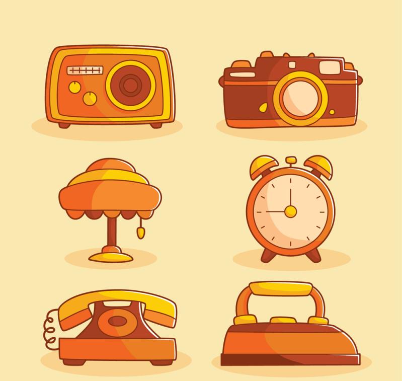 6款橙色家用物件矢量素材