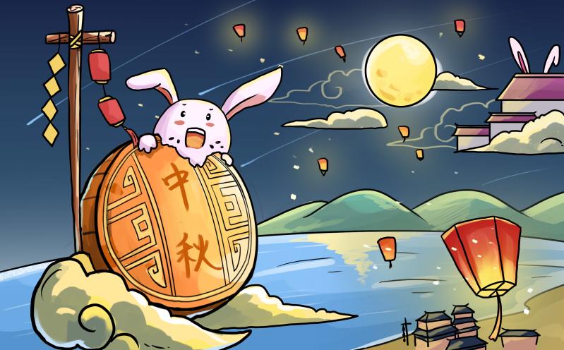 中秋节玉兔吃月饼图片