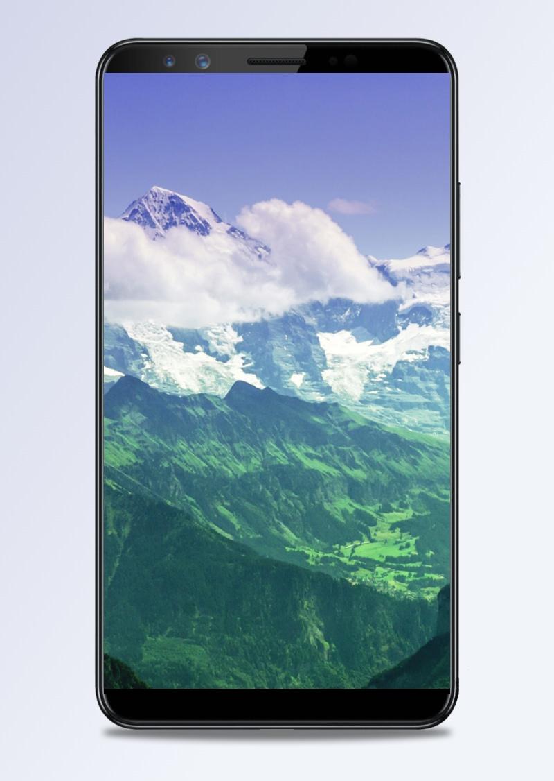 风景蓝天白云高山H5背景素材
