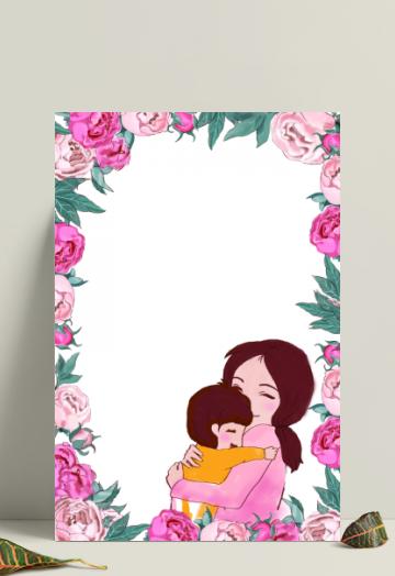 手绘母亲节花朵母女海报边框