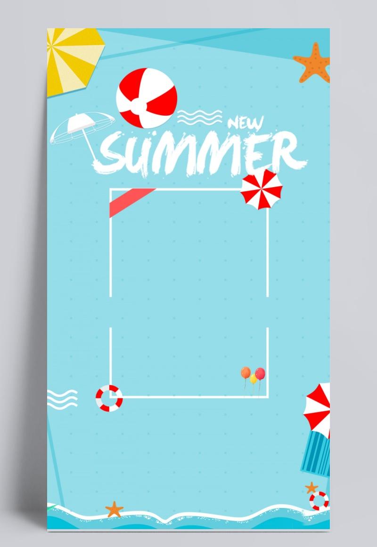 蓝色小清新夏季上新背景