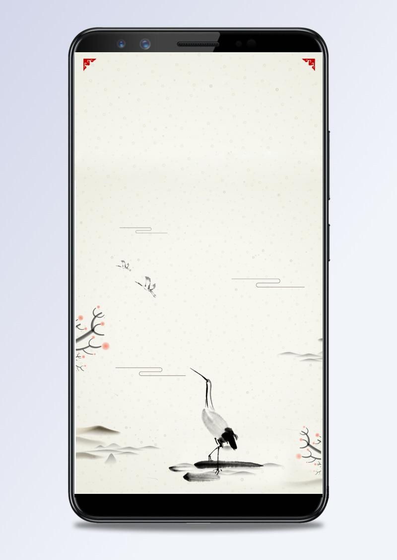 水墨山水中国风古风传统节气H5背景素材