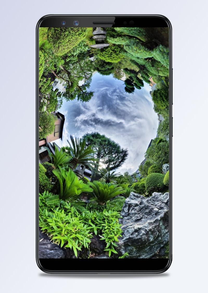 风景蓝天绿树圆圈H5背景素材