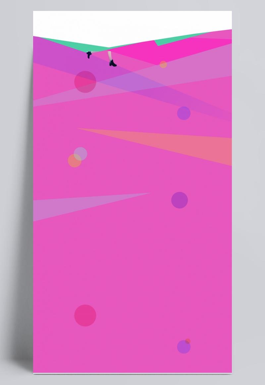 粉色背景七彩色漂浮菱形